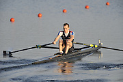 Eton, United Kingdom.   Men's Lightweight single scull, Peter CHAMBERS, move away from the start at the 2012 GB Rowing Senior Trials, Dorney Lake. Nr Windsor, Berks.  Saturday  10/03/2012  [Mandatory Credit; Peter Spurrier/Intersport-images]