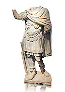 Roman statue of an Emperor with a breastplate (loricata) from the 2nd cent AD from the Imperial Villa, Rome. The statue depicts a man in military dress, with a breastplate (lorca) decorated within griffins and a cluster of acanthus, and edged by a series of pendants (pteryges) with a head of ferocious animals and a cloak (paludamentum). In his left hand remains the traces of a sword; his raised right arm probably leant on a spear. On his feat he wears shoes decorated at the ankles with a lion skin. The statue dates from the dynasty of the Antonine Emperors and is the dress of the supreme military commander.  The National Roman Museum, Rome, Italy .<br /> <br /> If you prefer to buy from our ALAMY PHOTO LIBRARY  Collection visit : https://www.alamy.com/portfolio/paul-williams-funkystock/roman-museum-rome-sculpture.html<br /> <br /> Visit our ROMAN ART & HISTORIC SITES PHOTO COLLECTIONS for more photos to download or buy as wall art prints https://funkystock.photoshelter.com/gallery-collection/The-Romans-Art-Artefacts-Antiquities-Historic-Sites-Pictures-Images/C0000r2uLJJo9_s0