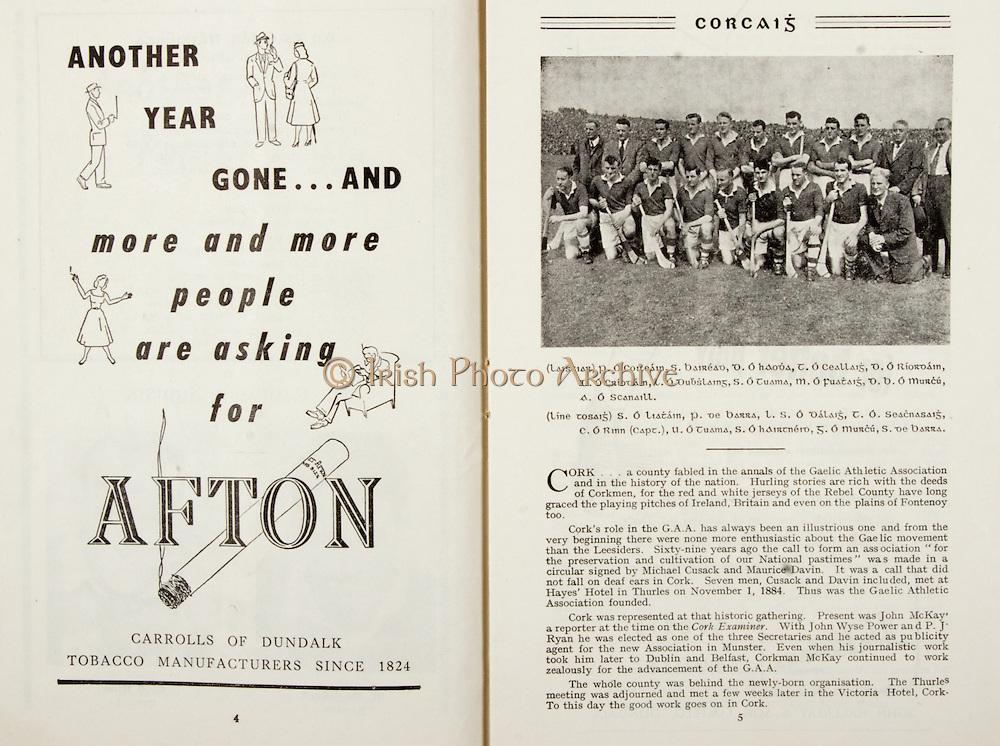 All Ireland Senior Hurling Championship Final,.Programme, .06.09.1953, 09.06.1953, 6th September 1953,.Cork 3-3, Galway 0-8, .Minor Dublin v Tipperary, .Senior Cork v Galway, .Croke Park, 0691953AISHCF,..Advertisements, Afton Cigarettes,.