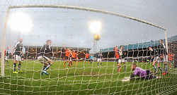 Dundee United's shot that didn't go over the line.  <br /> Dundee 2 v 1  Dundee United, SPFL Ladbrokes Premiership game played 2/1/2016 at Dens Park.