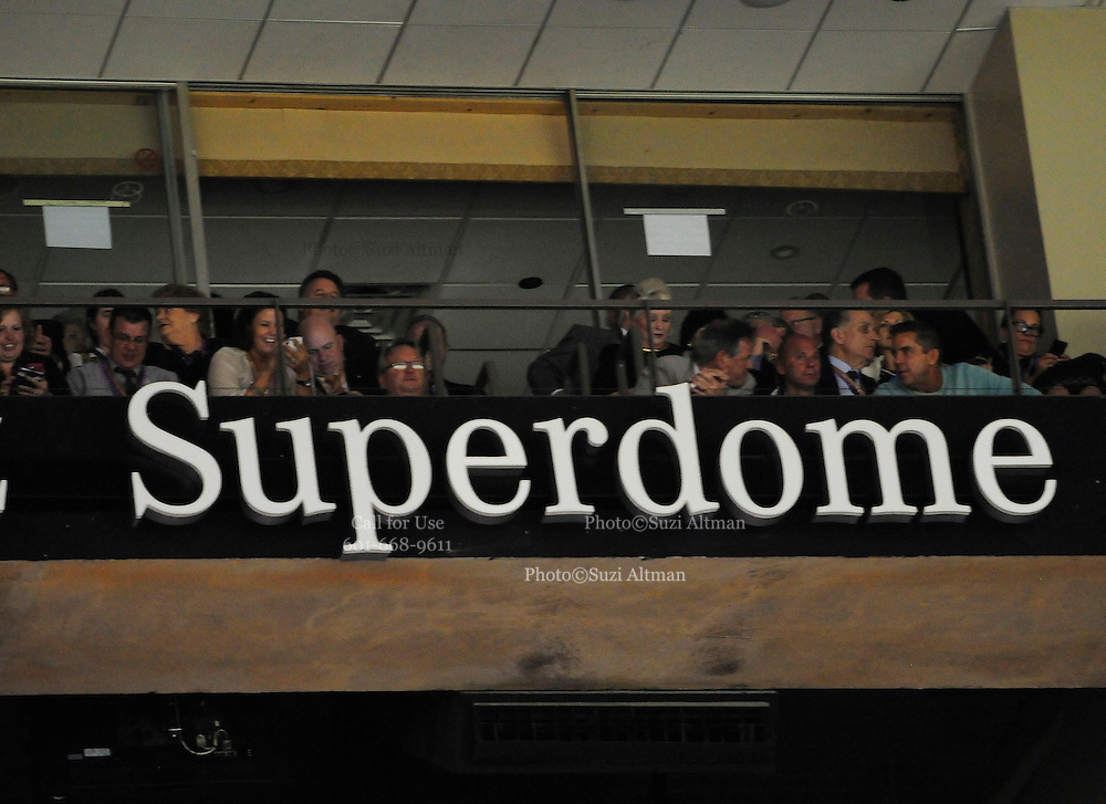 FILE **2/3/13 New Orleans LA.-NFL FILE- Mickey Loomis  and New Olreans SAints Head Coach Sean Payton are seen during the power outage in Tom Benson's box at Super Bowl XLV11 at the Mercedes Benz Super Dome during the third quarter of Super Bowl XLV11 in New Olreans. The Baltimore Ravens went on beat the San Francisco 49er's 34-31. Photo©Suzi Altman