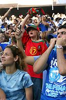 Lisboa / Lisbona 4/7/2004 <br />Campionati Europei - European Championships 2004 - final / Finale <br />Portogallo Grecia 0-1 <br />a children Portugal Fan between Greece fans<br />Un bambino tifoso del Portogallo in mezzo ai tifosi Greci<br />Photo Graffiti