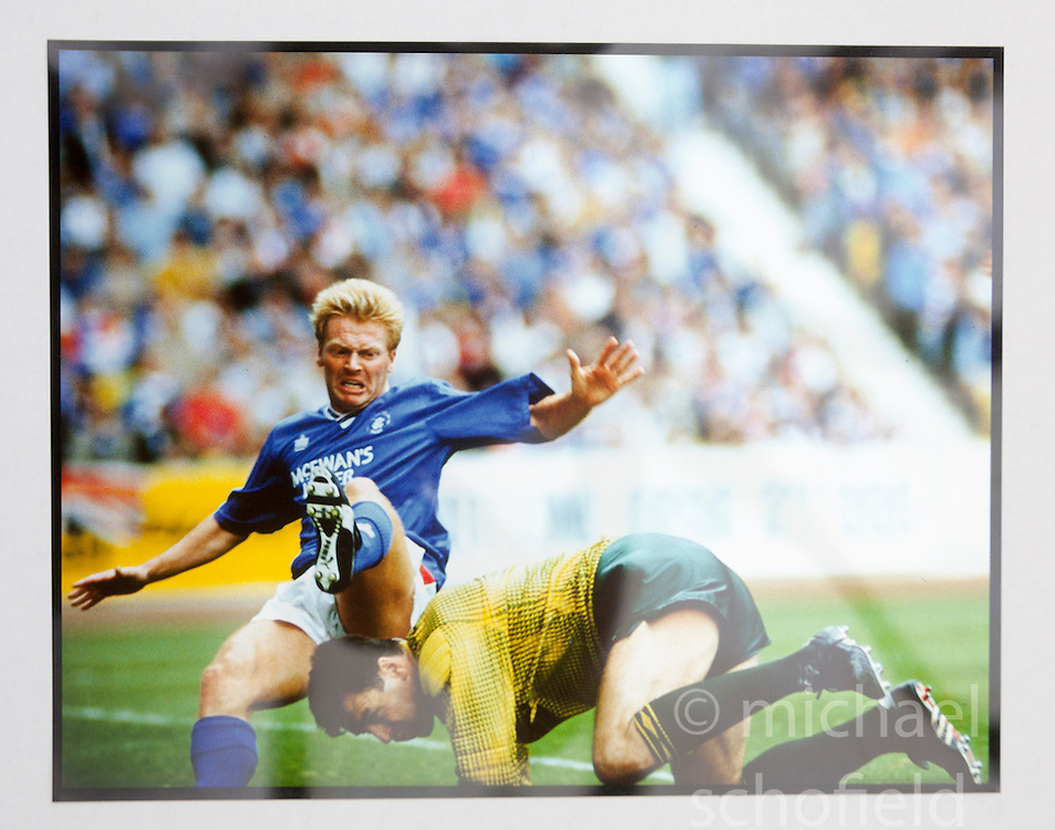 Mo Johnston and Pat Bonnar in an old firm game at Ibrox. Pictures and pages from the time at Rangers News 1989 to 1993..©Michael Schofield.