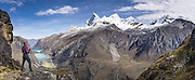 Nevado Huandoy (20,866 feet or 6360 meters elevation) rises high above Llanganuco Valley and Lakes, in Huascaran National Park (UNESCO World Heritage Site), Cordillera Blanca, Andes Mountains, Peru, South America This panorama was stitched from 3 overlapping photos.