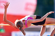 Poland, Radom - 2020 September 12: Julia Turkiewicz (MKL 12 Jelenia Gora) from Poland competes in women's high jump final while 74. PZLA Athletics Polish Championships U20 - Radom 2020 - Day#2 during pandemic COVID-19 at MOSiR Stadium on September 12, 2020 in Radom, Poland.<br /> <br /> Mandatory credit:<br /> Photo by © Adam Nurkiewicz<br /> <br /> <br /> Adam Nurkiewicz declares that he has no rights to the image of people at the photographs of his authorship.<br /> <br /> Picture also available in RAW (NEF) or TIFF format on special request.<br /> <br /> Any editorial, commercial or promotional use requires written permission from the author of image. Single publication only for informational, journalistic or documentary purposes inside a newspaper, magazine or book (digital versions allowed). One edition on the territory of one country. Resale is forbidden.<br /> <br /> Image can be used in the press when the method of use and the signature does not hurt people on the picture.