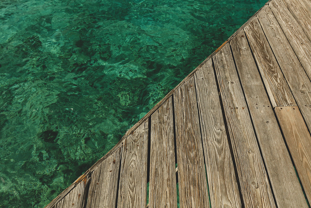 The edge of a dock on Marina Cay in the British Virgin Islands.