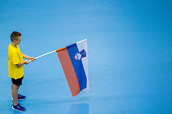 Slovenian flag during handball match between National Teams of Slovenia and Norway in Play Off Phase 2 of 2017 Men's World Championship Qualifications, on June 11, 2016 in Arena Zlatorog, Celje, Slovenia. Photo by Vid Ponikvar / Sportida