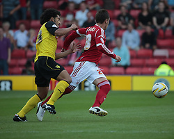 Nottingham Forest's Radoslaw Majewski and Watford's Iriney vie for the ball  - Photo mandatory by-line: Nigel Pitts-Drake/JMP - Tel: Mobile: 07966 386802 25/08/2013 - SPORT - FOOTBALL -Vicarage Road Stadium - Watford -  Watford v Nottingham Forest - Sky Bet Championship
