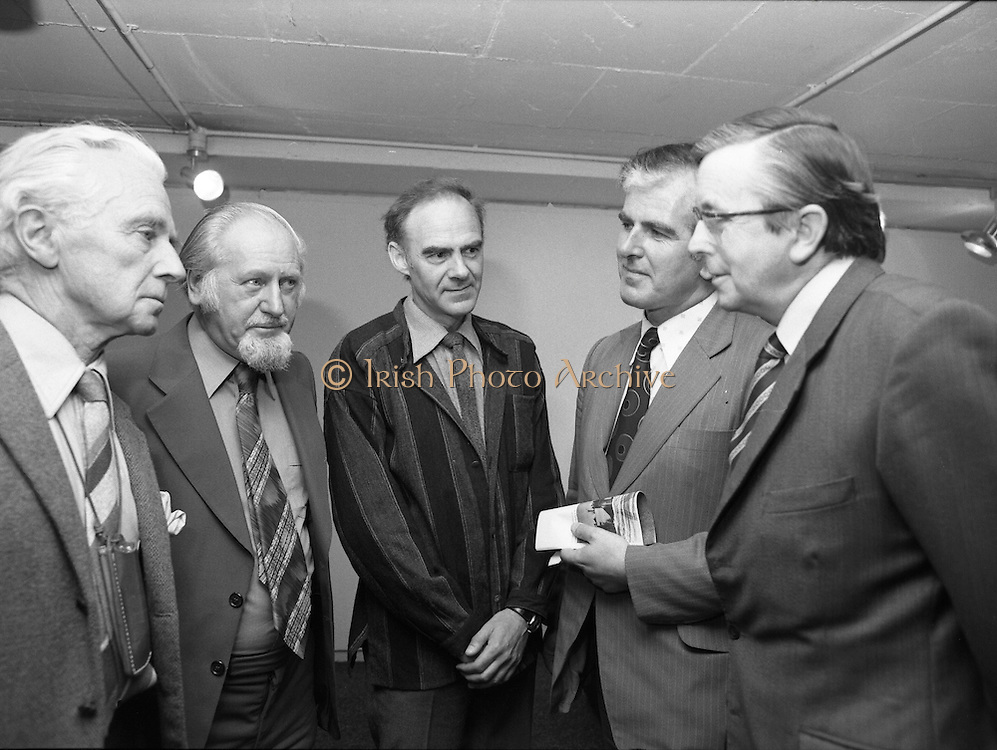 """20/06/1979.06/20/1979.20th June 1979.An exhibition of photographs presented by the Norwegian Foreign Ministry as a gift to the Department of Architecture, Bolton Street, Dublin entitled """"New Architecture from Norway"""" opened at the Kilkenny Design Shop, Nassau Street. Photograph shows (from left) Sir Basil Goulding, Chairman KDW; Mr Oscar Richardson, President, President, Rotyal Institute of Architects of Ireland; Mr Ragnvald Lorentzen, President, Norwegian Architects League, Oslo; Mr John McKay, C.E.O., City of Dublin V.E.C.; and Mr John O'Keeffe, Head of the Department of Architecture, Bolton Street, Dublin at the opening of the exhibition."""