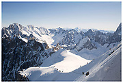Views of the Aiguille du Midi at 3800m in Chamonix, France.