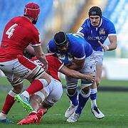 Roma 13/03/2021, Stadio Olimpico<br /> Guinness Six Nations 2021<br /> Italia vs Galles<br /> <br /> Maxime Mbanda' placcato da Josh Navidi