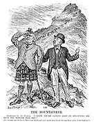 """The Mountaineer. Ratepayer (to the Premier). """"I know you're always keen on mountains, sir. Have you noticed this one?"""" [The Premier, after his visit to Blair Castle, said he had been """"greatly pleased with the magnificent scenery of the Highlands.""""]"""