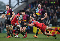 Rugby Union - 2019 / 2020 Gallagher Premiership - Harlequins vs. Saracens<br /> <br /> Harlequins' Marcus Smith evades the tackle of Saracens' Callum Hunter-Hill, at The Stoop.<br /> <br /> COLORSPORT/ASHLEY WESTERN