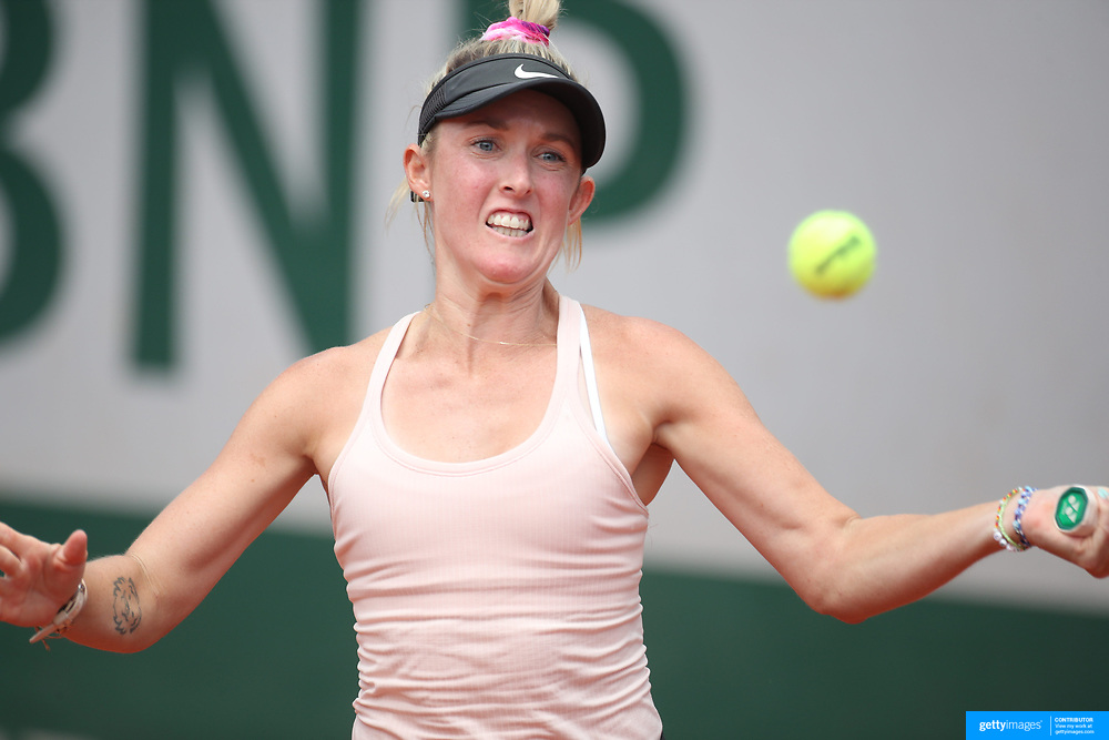 PARIS, FRANCE May 28. Storm Sanders of Australia in action against Susan Bandecchi of Switzerland during the qualifying tournament at the 2021 French Open Tennis Tournament at Roland Garros on May 28th 2021 in Paris, France. (Photo by Tim Clayton/Corbis via Getty Images)