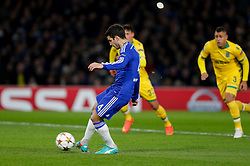 Cesc Fabregas of Chelsea scores a goal from the penalty spot to make it 1-0 - Photo mandatory by-line: Rogan Thomson/JMP - 07966 386802 - 10/12/2014 - SPORT - FOOTBALL - London, England - Stamford Bridge - Sporting Clube de Portugal - UEFA Champions League Group G.
