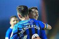 GOAL Ian Henderson celebrates scoring 1-0  during the EFL Sky Bet League 1 match between Rochdale and Accrington Stanley at Spotland, Rochdale, England on 24 November 2018.