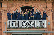 Warwickshire balcony celebrate after winning the 2016 Royal London One Day Cup Final between Warwickshire County Cricket Club and Surrey County Cricket Club at Lord's Cricket Ground, St John's Wood, United Kingdom on 17 September 2016. Photo by David Vokes.