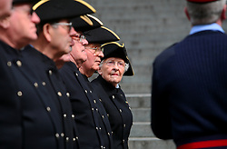 © Licensed to London News Pictures 16/04/2013.Mrs Dorothy Hughes, one of six female In-Pensioners and the only female pensioner to take part in the funeral procession, listens to instructions during a military dress rehearsal outside St Paul's cathedral in central London, the day before the late Margaret Thatcher's funeral..London, UK.Photo credit: Anna Branthwaite/LNP