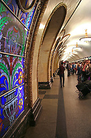 Novoslobodskaya Station, Moscow Metro.  For train lovers, the Moscow Metro is a showcase of individually designed subway stations.  This is Novoslobodskaya Station with its belle epoque stained-glass windows lighted from within.  As there is no tradition of stained glass windows in Russia, they were designed in Latvia and each window is different:  vases overflowing with fantastic flowers, cooing pigeon windows, and colored medallions.