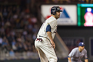 Joe Mauer #7 of the Minnesota Twins leads off from 3rd base during a game against the Milwaukee Brewers on May 29, 2013 at Target Field in Minneapolis, Minnesota.  The Twins defeated the Brewers 4 to 1.  Photo: Ben Krause