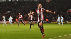 Sheffield United's George Baldock celebrates scoring his team's third goal