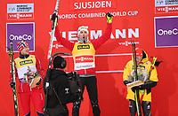 Kombinert<br /> FIS World Cup<br /> Lillehammer<br /> 25.11.2012<br /> Foto: Gepa/Digitalsport<br /> NORWAY ONLY<br /> <br /> FIS Weltcup, 10km Penalty Race. <br /> Bild zeigt den Jubel von Håvard Klemetsen, Magnus Moan (NOR) und Eric Frenzel (GER).