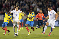 Fotball<br /> USA v Ecuador<br /> 10.10.2014<br /> Foto: imago/Digitalsport<br /> NORWAY ONLY<br /> <br /> United States Mix Diskerud (8) tries to split Ecuador s Joao Plata (7) and Ecuador s Enner Valencia (13) while United States Omar Gonzalez (3) looks on. The Men s National Team of the United States and the Men s National Team of Ecuador played to a 1-1 draw in an international friendly at Rentschler Field in East Hartford, CT.<br /> <br /> Mikkel Mix Diskerud