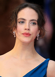 attends The Guernsey Literary and Potato Peel Pie Society world premiere at the Curzon Mayfair in London, UK. 09 Apr 2018 Pictured: Jessica Brown Findlay. Photo credit: Fred Duval / MEGA TheMegaAgency.com +1 888 505 6342