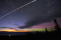 kevin palmer, pentax k-5,<br /> night, sky, stars, starry, clear, august, summer, space, astronomy, astrophotography, aurora, aurora borealis, northern lights, color, colorful, red, purple, green, north, trees, Brockway Mountain, Copper Harbor, Upper Peninsula, Michigan, evening, twilight, clouds, samyang 10mm f2.8, trees, ISS, International Space Station, satellite, trail, Lake Superior, Great Lake,