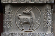 Deer carved in stone at the Yong An Si temple, now a museum, Beiyue Hengshan Mountain, Datong, Hunyuan County, Shanxi Province, China