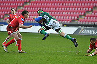 Rugby Union - 2020 / 2021 Guinness PRO14 - Round 12 - Scarlets vs Benetton - Parc-y-Scarlets<br /> <br /> Riccardo Favretto of Benetton attacks Ryan Elias, of Scarlets defends<br /> <br /> COLORSPORTWINSTON BYNORTH