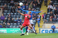 Kgosi Nthle challenges Josh Parker during the EFL Sky Bet League 1 match between Rochdale and Gillingham at Spotland, Rochdale, England on 23 September 2017. Photo by Daniel Youngs.