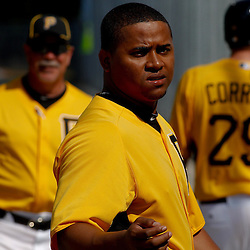 February 21, 2011; Bradenton, FL, USA; Pittsburgh Pirates relief pitcher Jose Ascanio (45) during spring training at Pirate City minor league training complex.  Mandatory Credit: Derick E. Hingle