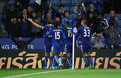 Andy King of Leicester City (L) celebrates scoring his sides second goal in extra time  - Mandatory byline: Jack Phillips/JMP - 07966386802 - 22/09/2015 - SPORT - FOOTBALL - Leicester - King Power Stadium - Leicester City v West Ham United - Capital One Cup Round 3