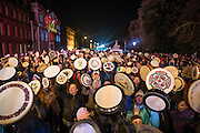 NO FEE PICTURES<br /> 31/12/15 The NYF Bodhran Session World Record attempt at St Stephen's Green, part of the New Years Festival in Dublin. nyf.com running from 30th Dec to 1st Jan in Dublin. Picture: Arthur Carron