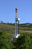 Akita drilling rig 20E near Chain Lakes, Alberta   Photo: Peter Llewellyn