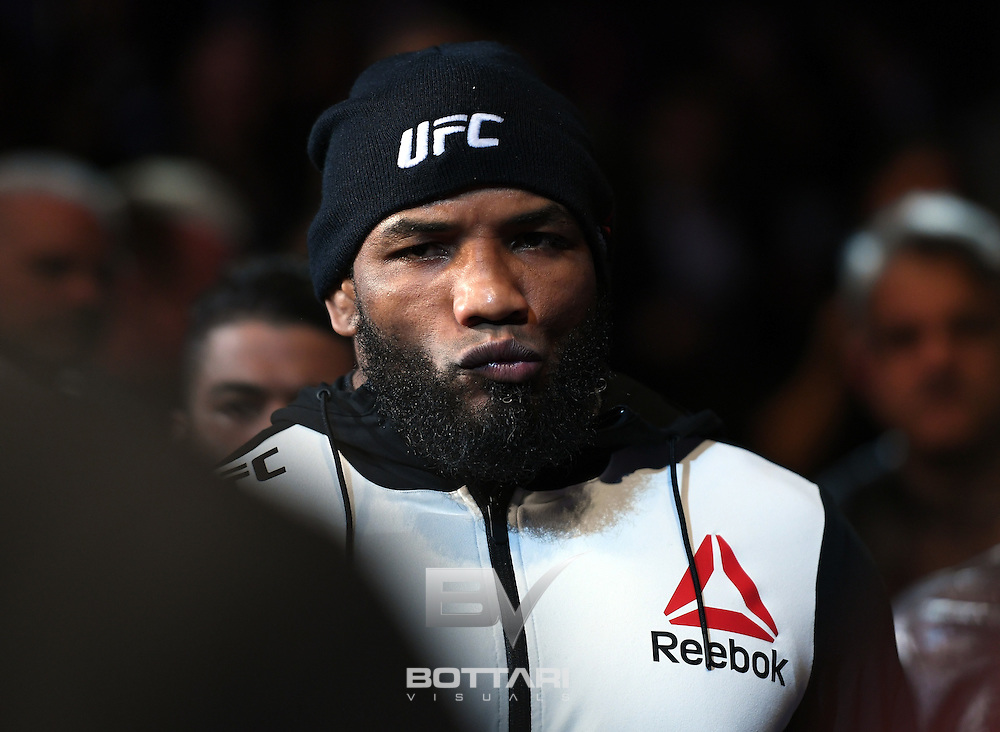 NEW YORK, NY - NOVEMBER 12: Yoel Romero of Cuba prepares to fight Chris Weidman of the United States in their middleweight bout during the UFC 205 event at Madison Square Garden on November 12, 2016 in New York City.  (Photo by Jeff Bottari/Zuffa LLC/Zuffa LLC via Getty Images)