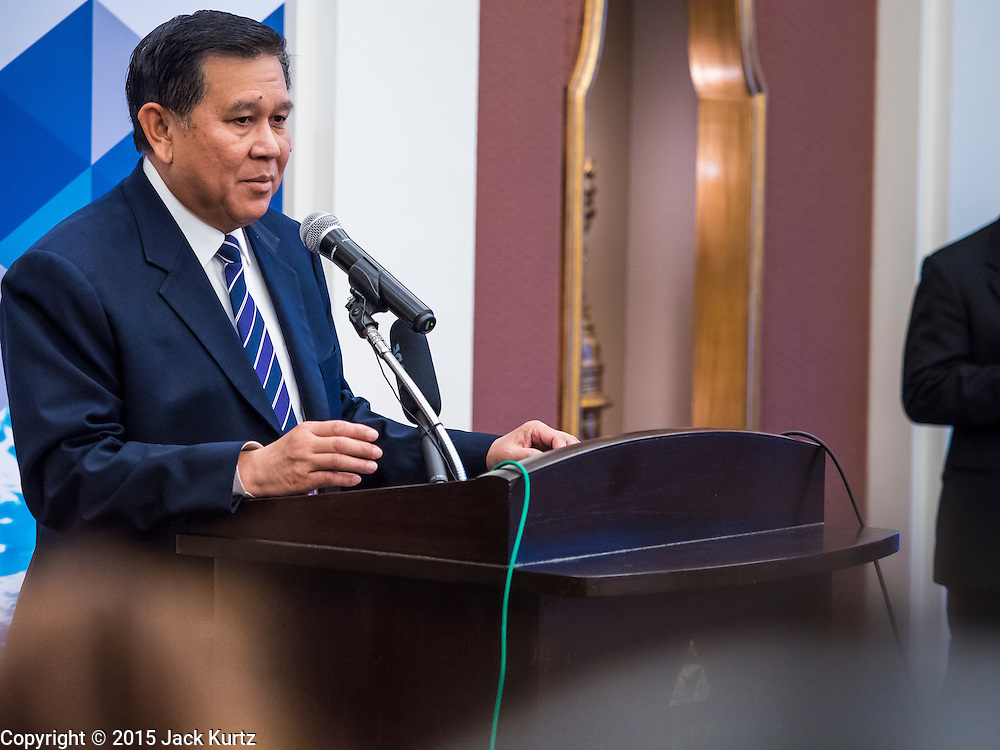 """29 MAY 2015 - BANGKOK, THAILAND: H.E. General TANASAK PATIMAPRAGORN, Deputy Prime Minister and Minister of Foreign Affairs of Thailand,  answers reporters' questions during a press conference at the """"Special Meeting on Irregular Migration in the Indian Ocean."""" Thailand organized and hosted the meeting at the Anantara Siam Hotel in Bangkok. The meeting brought together representatives from the 5 countries impacted by the boat people exodus: Thailand, Malaysia and Indonesia, which have all received boat people, and Myanmar (Burma) and Bangladesh, where they are coming from. Non-governmental organizations, like the International Organization for Migration (IOM) and UN High Commissioner for Refugees (UNHCR) as well as countries responding to the crisis, like the United States, also attended the meeting. A total of 22 organizations attended the one day conference.      PHOTO BY JACK KURTZ"""