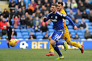 Cardiff City's Anthony Pilkington (13) goes past Preston's Bailey Wright. Skybet football league championship match, Cardiff city v Preston NE at the Cardiff city stadium in Cardiff, South Wales on Saturday 27th Feb 2016.<br /> pic by Carl Robertson, Andrew Orchard sports photography.