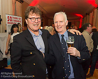 (l to r) Jan Van Derpuil and John Lavery at the reunion night to celebrate 50 years of the Irish Fireball Class, held at the Royal St George YC.