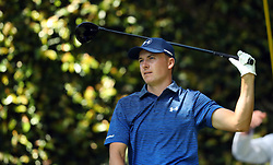 Jordan Spieth reacts to his shot from the 2nd tee during the third round of the Masters Tournament at Augusta National Golf Club in Augusta, Ga., on Saturday, April 8, 2017. (Photo by Curtis Compton/Atlanta Journal-Constitution/TNS) *** Please Use Credit from Credit Field ***