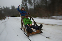 Boy scouts with Klondike sleds on winter campout in New Hampshire.