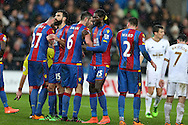 The Crystal Palace players inc Emmanuel Adebayor (2nd right) line up their defensive wall ahead of a Swansea city free-kick.Barclays Premier league match, Swansea city v Crystal Palace at the Liberty Stadium in Swansea, South Wales on Saturday 6th February 2016.<br /> pic by Andrew Orchard, Andrew Orchard sports photography.