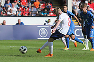 Thomas Doyle of England (8) scores a penalty during the UEFA European Under 17 Championship 2018 match between England and Italy at the Banks's Stadium, Walsall, England on 7 May 2018. Picture by Mick Haynes.