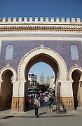 Bab Boujeloud Gate, The Blue Gate of Fes, at the entrance to the medina, Fes, Morocco