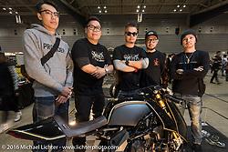 Winston Yeh of Roughcraft Customs with friends at the Mooneyes Yokohama Hot Rod & Custom Show. Yokohama, Japan. December 4, 2016.  Photography ©2016 Michael Lichter.