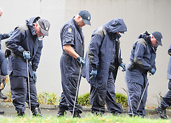 CHRISTCHURCH, March 17, 2019  Security personnel comb the area near a mosque for more clues and evidences in Christchurch, New Zealand, on March 17, 2019. The death toll from the terror attacks on two mosques in New Zealand's Christchurch has risen to 50 as one more victim was found at one of the shooting scenes, the police said on Sunday. (Credit Image: © Xinhua via ZUMA Wire)