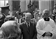 Mass For The 26th Dail.     (T3)..1989..29.06.1989..06.29.1989..29th June 1989..After the General Election  a mass took place today at the Pro-Cathedral in Dublin. The mass was to bless   the incoming TD's who were successful in their election to the Dáil...An Taoiseach, Charles Haughey TD, is pictured leaving the Pro-Cathedral after the mass.