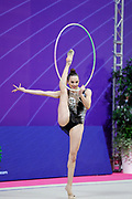 Nicol Zelikman during the finals at the World Championships in Pesaro at the Vitrifrigo Arena on May 30, 2021. Nicol is an Israeli rhythmic gymnastics born on January 30, 2001.