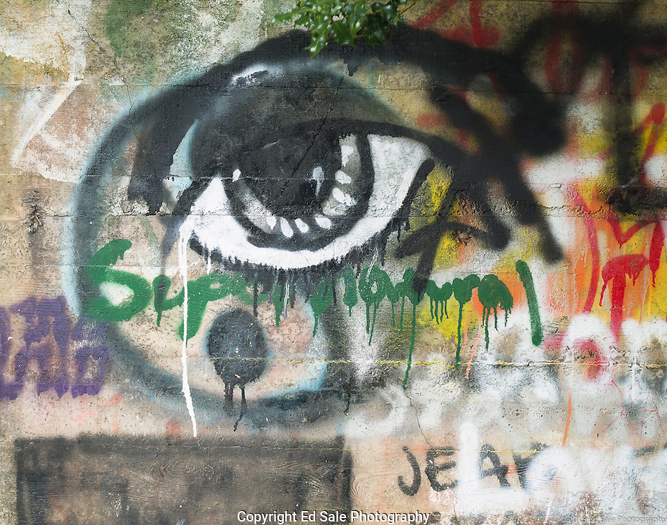 Black and white street art painting in old mill building in Vernonia, Oregon of human eye